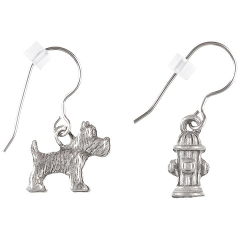 Dog & Fire Hydrant Pewter Fishhook Earrings