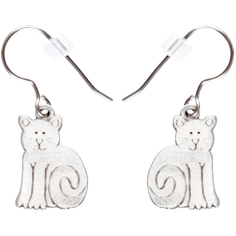 Cat Body Pewter Fishhook Earrings