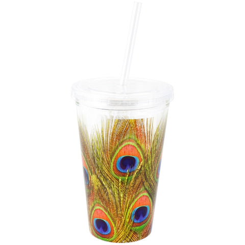 Peacock Feathers Double Wall Acrylic Tumbler With Straw