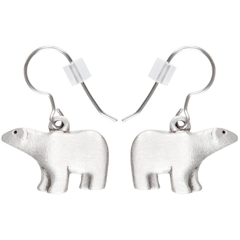 Polar Bear Body Pewter Fishhook Earrings