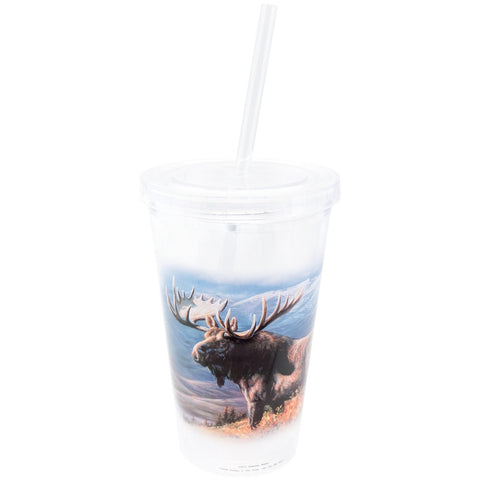 Moose on Mountain Side Double Wall Acrylic Tumbler With Straw
