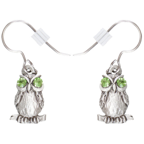 Owl Body Pewter Fishhook Earrings