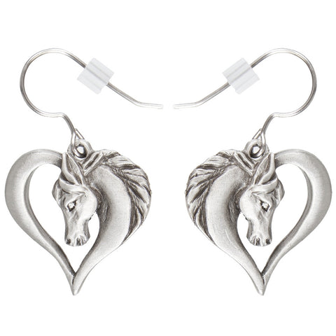 Horse Head in Heart Pewter Fishhook Earrings