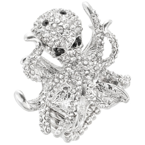 Octopus Gemmed Body Adjustable Ring