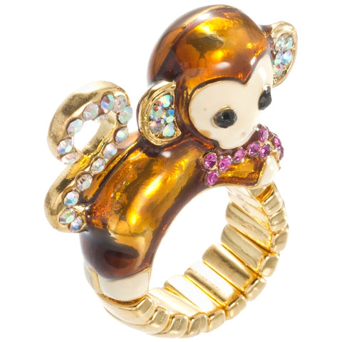 Monkey Body With Gemmed Heart Adjustable Ring