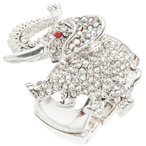 Elephant Gemmed Body Adjustable Ring