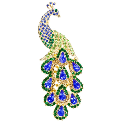 Peacock Body With Dangle Crystal Feathers Brooch