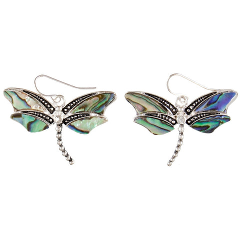 Dragonfly Body Mother of Pearl Dangle Earrings