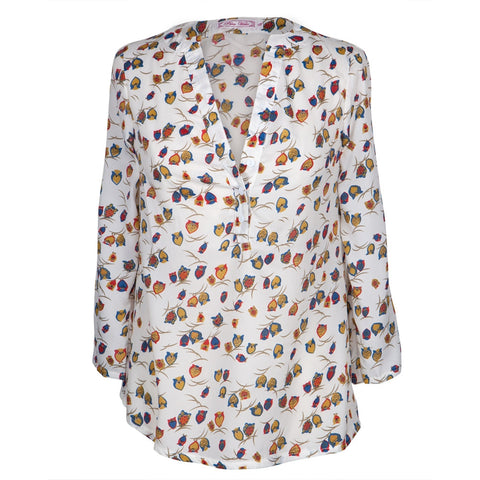 Owls on a Branch All-Over Women's Long Sleeve Blouse