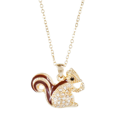Chipmunk Rhinestone Body Pendant Necklace