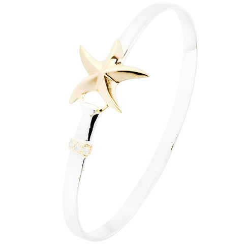 Starfish Body Two Tone Sterling Silver Bangle Bracelet