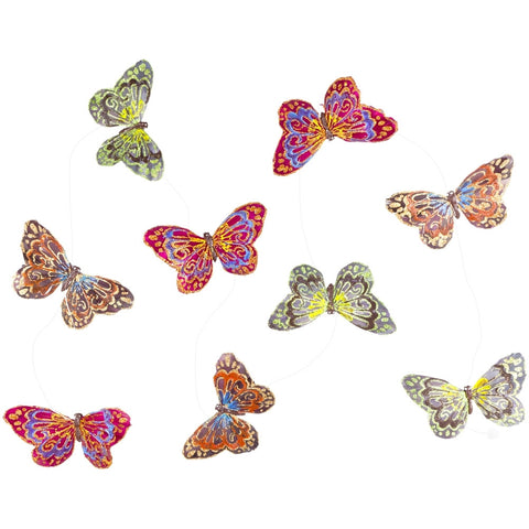 Butterfly Bodies Green & Orange Glitter Garland