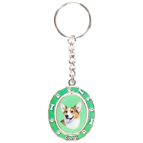 Welsh Corgi Portrait Oval Metal Keychain