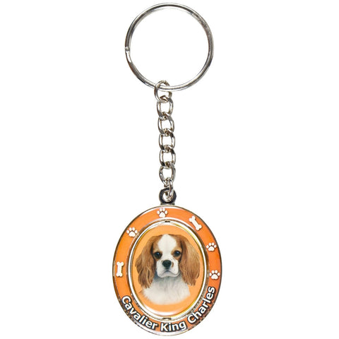 King Charles Cavalier Portrait Oval Metal Keychain