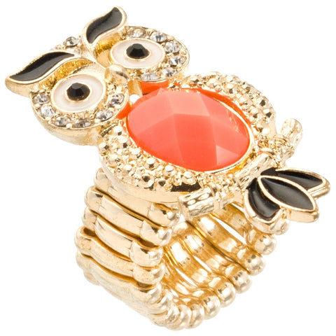 Owl Large Gem Body Adjustable Ring