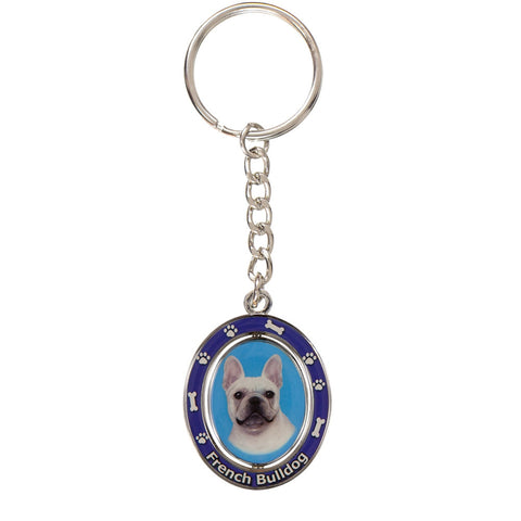 French Bulldog Portrait Oval Metal Keychain