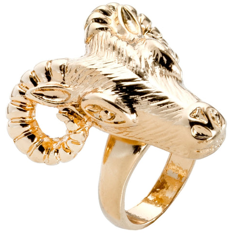 Ram Head Curling Horns Gold Ring