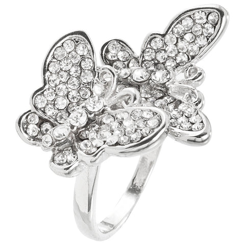 Butterfly Duo Rhinestone Ring