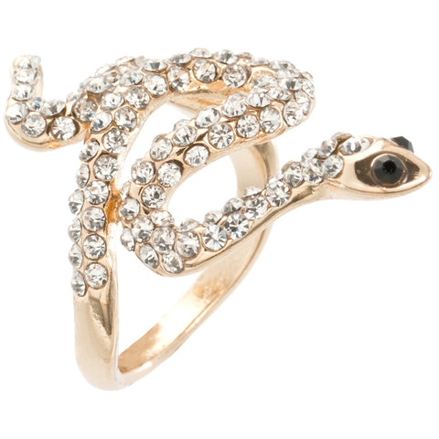 Coiled Snake Body Rhinestone Gold Ring