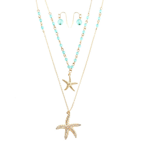 Starfish Duo Pendant Necklace & Earrings Set