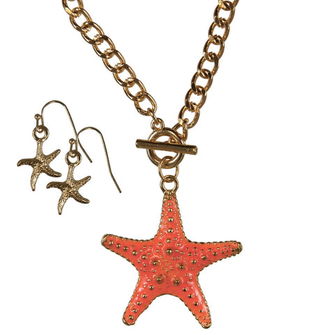 Starfish Large Body Pendant Necklace and Earring Set