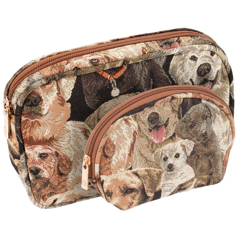 Labrador Family Portrait All-Over Two Piece Cosmetic Case Set