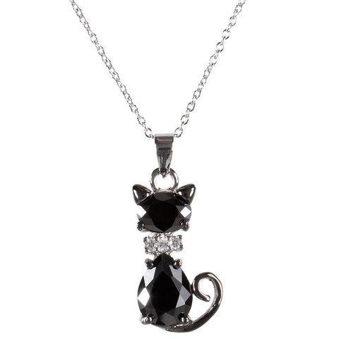 Black Cat Gem Body Necklace