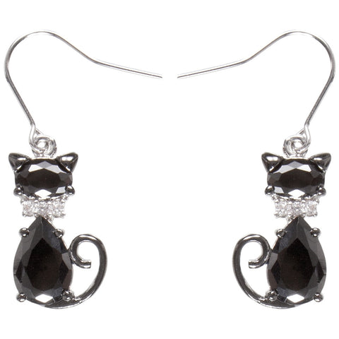 Black Cat Gem Body Dangle Earrings