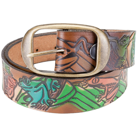 Tree Frog Collage Leather Belt