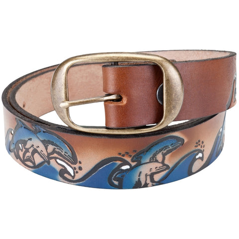 Dolphins Jumping Waves Leather Belt
