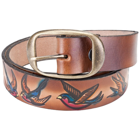 Bluebird Flying Repeat Leather Belt