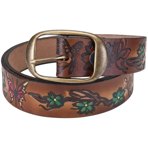 Butterfly & Flowers Leather Belt