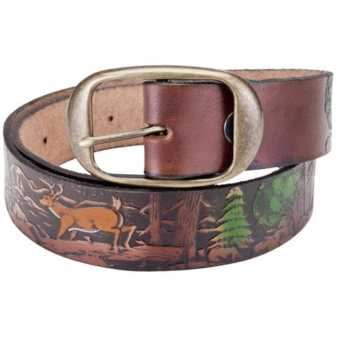 Deer Collage In Forest Leather Belt
