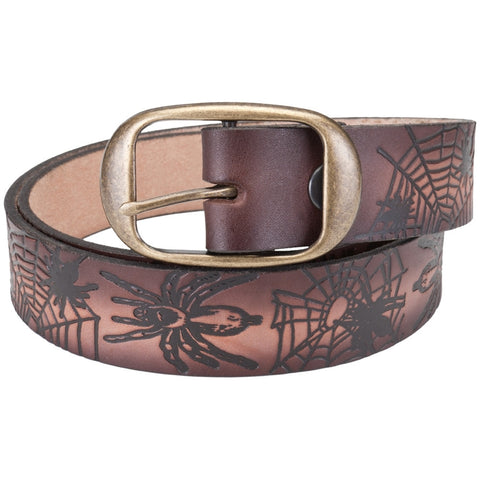 Spider & Web Collage Leather Belt