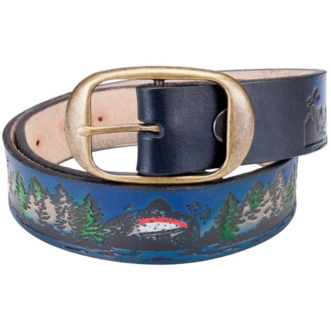 Fish Collage Leather Belt