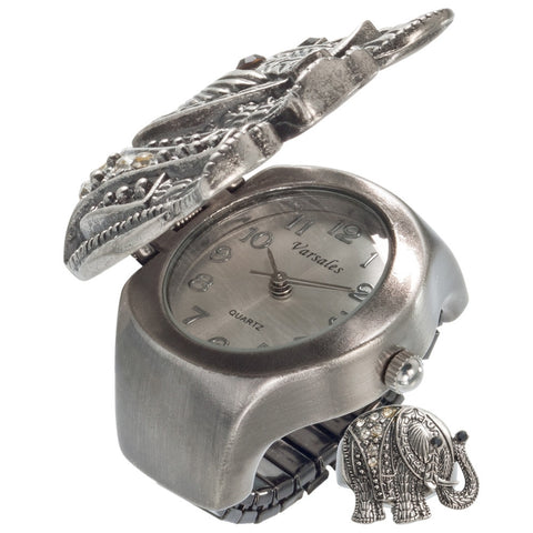 Elephant Gemmed Body Stretch Ring Watch