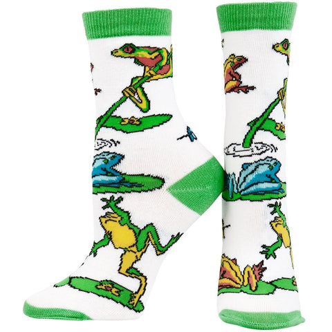 Frogs On Lily Pad & Branch Youth Socks