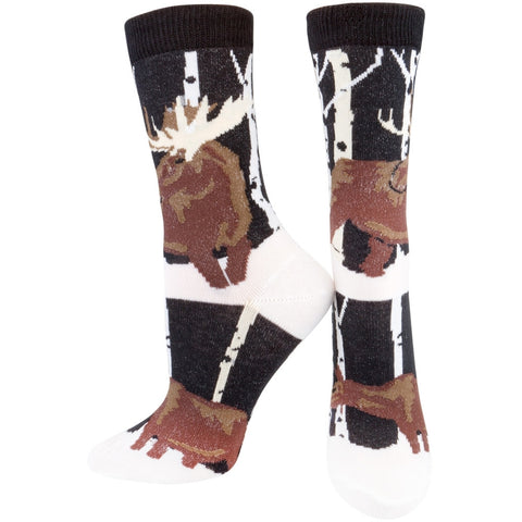 Moose In Snow Forest Women's Socks