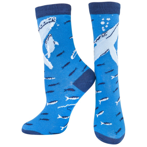 Whales In Sea of Fish Youth Socks