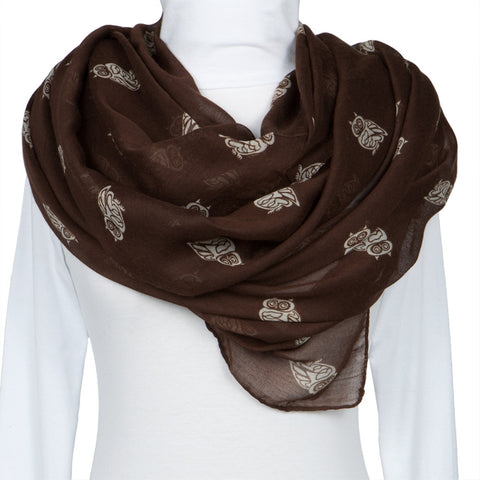 Brown Owl Repeat All-Over Scarf