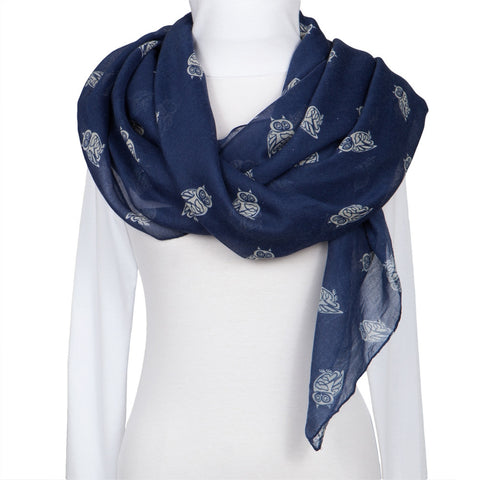 Navy Owl Repeat All-Over Scarf
