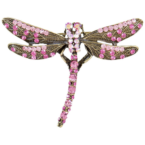 Dragonfly Large Gemmed Body Brooch-Cooper