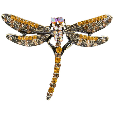 Dragonfly Large Gemmed Bronzed Body Brooch