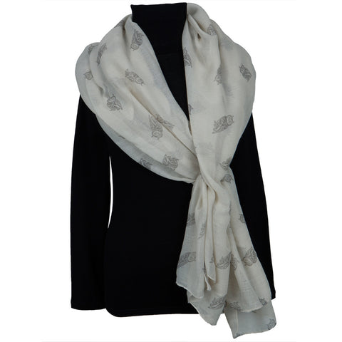 White Owl Repeat All-Over Scarf