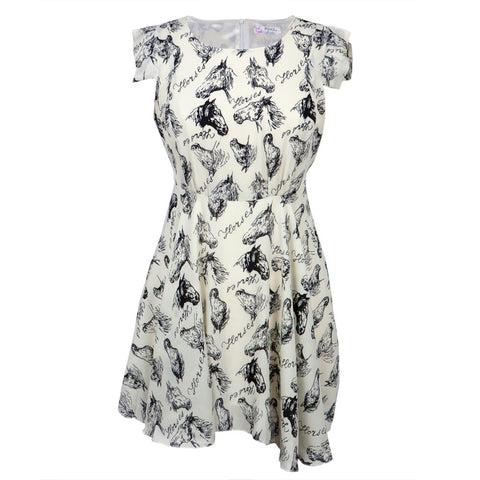 Horse Head Profiles All-Over Women's Dress
