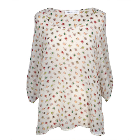Elephant Bodies All-Over Sheer Women's Blouse