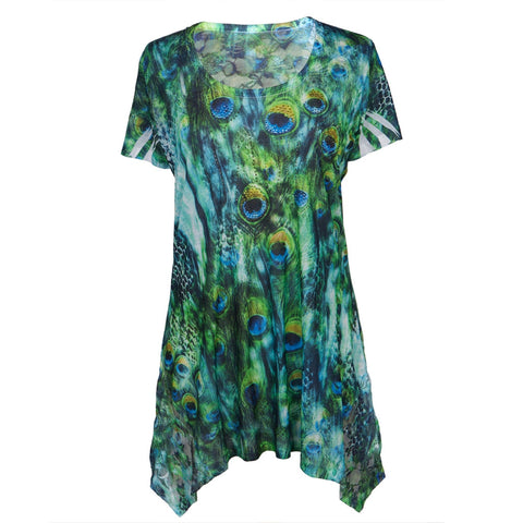 Peacock Feathers All-Over Women's Blouse