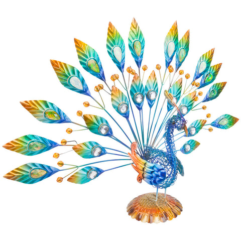 Peacock Body With Large Feathers Metal Figurine