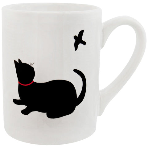 Cat Looking At Bird Prints Coffee Mug