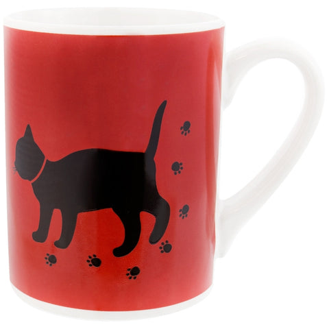 Cat With Paw Prints Coffee Mug